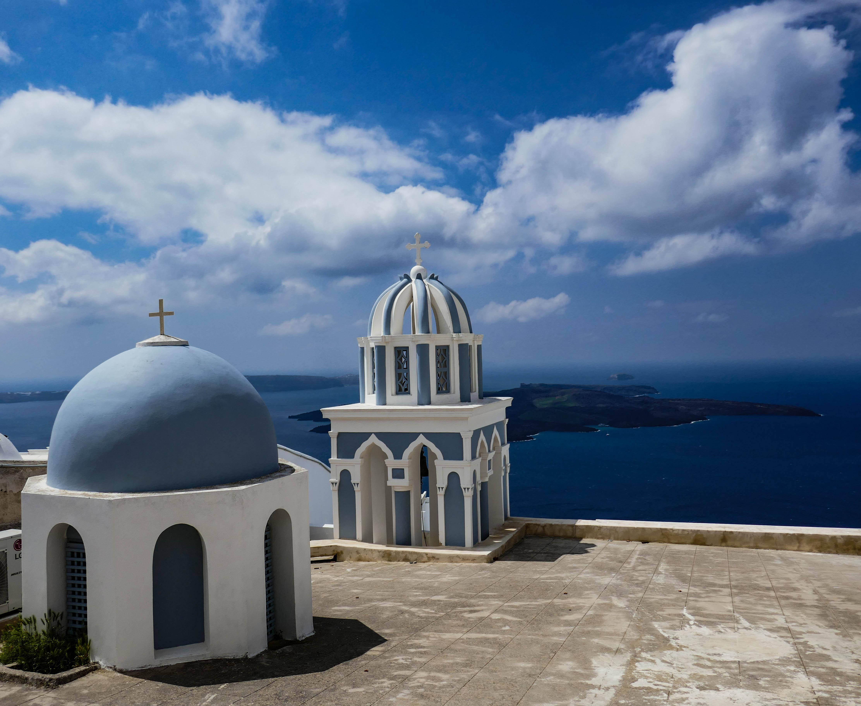Imerovigli, archipel des Cyclades, île de Santorin.