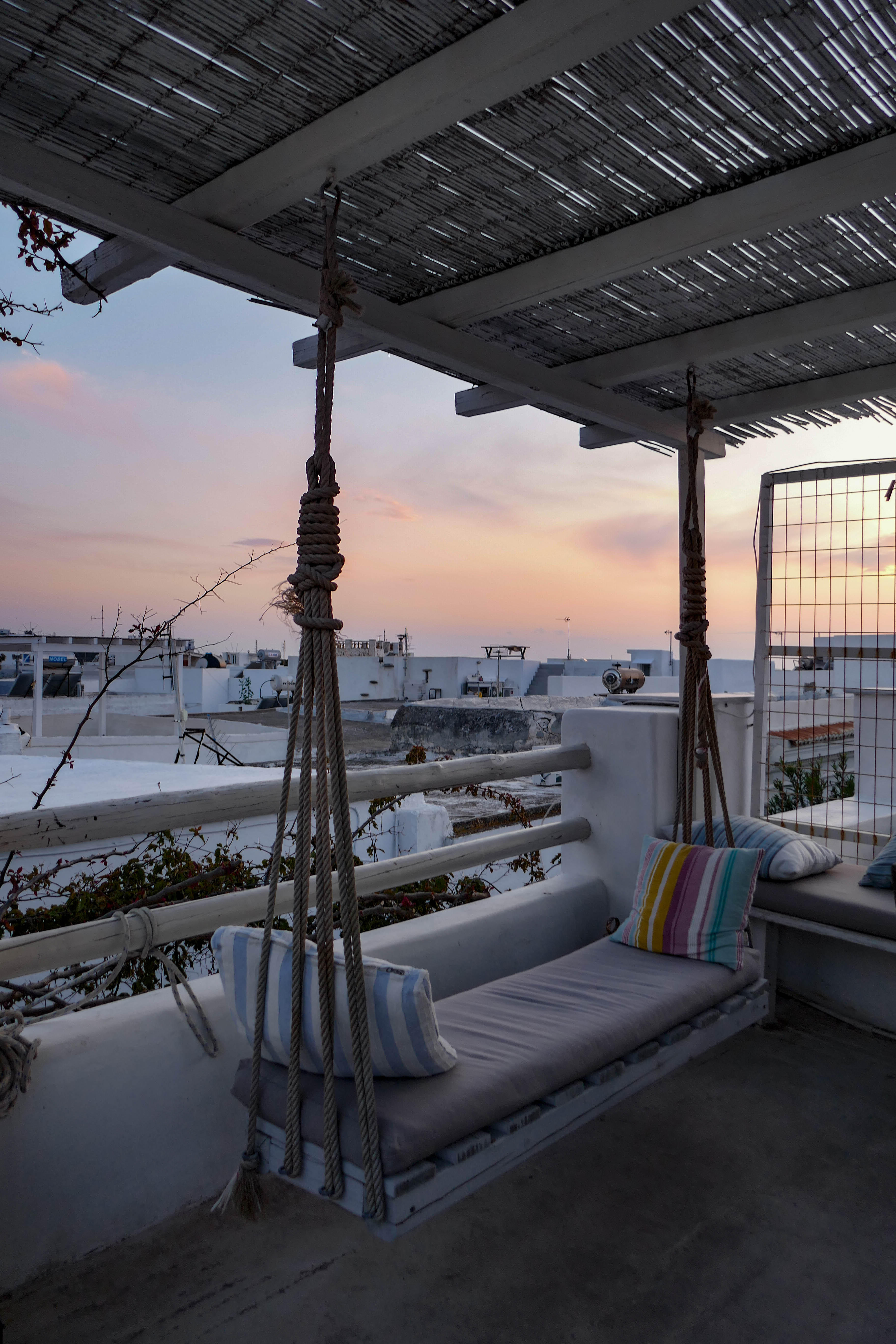 Parikia, rooftop, sunset, Grèce, Paros