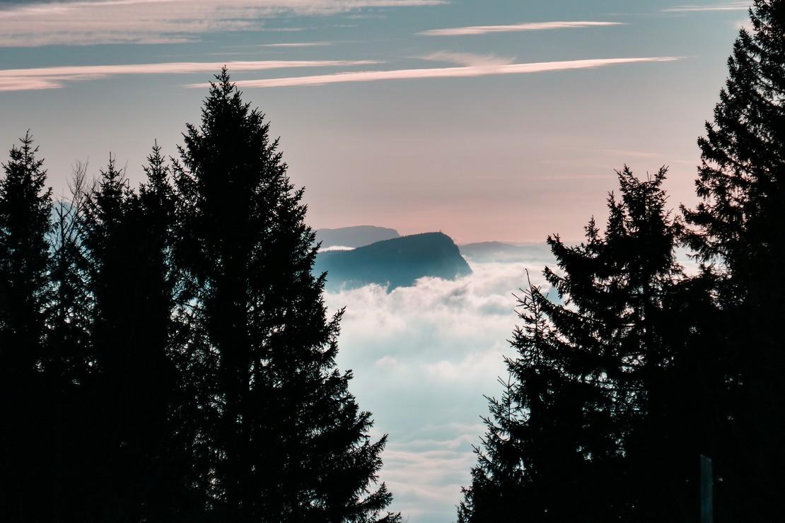 Mer du brouillard sur le LAc du Bourget depuis le plateau du Revard